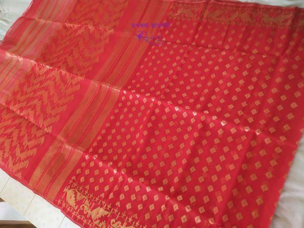 Red Soft Dhakai Jamdani