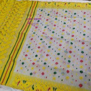 yellow soft jamdani saree
