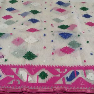 White Multi color soft jamdani saree