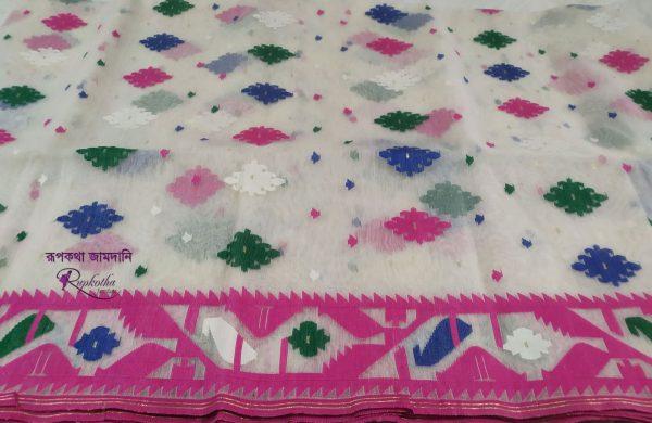 White Multi color soft jamdani saree