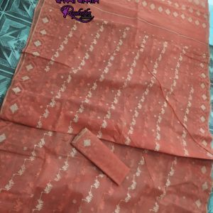 Peach Jamdani Saree