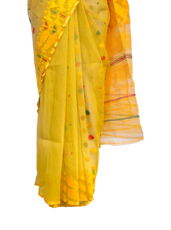 Yellow jamdani Saree blouse ideas