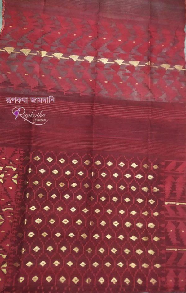 Marron Jamdani Saree