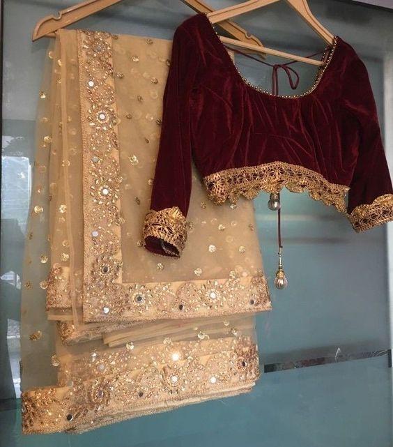 Golden Saree color contrast blouse ideas