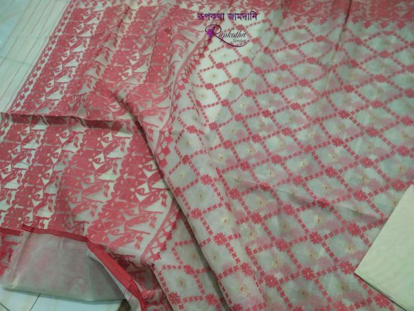 White and red contrast jamdani saree