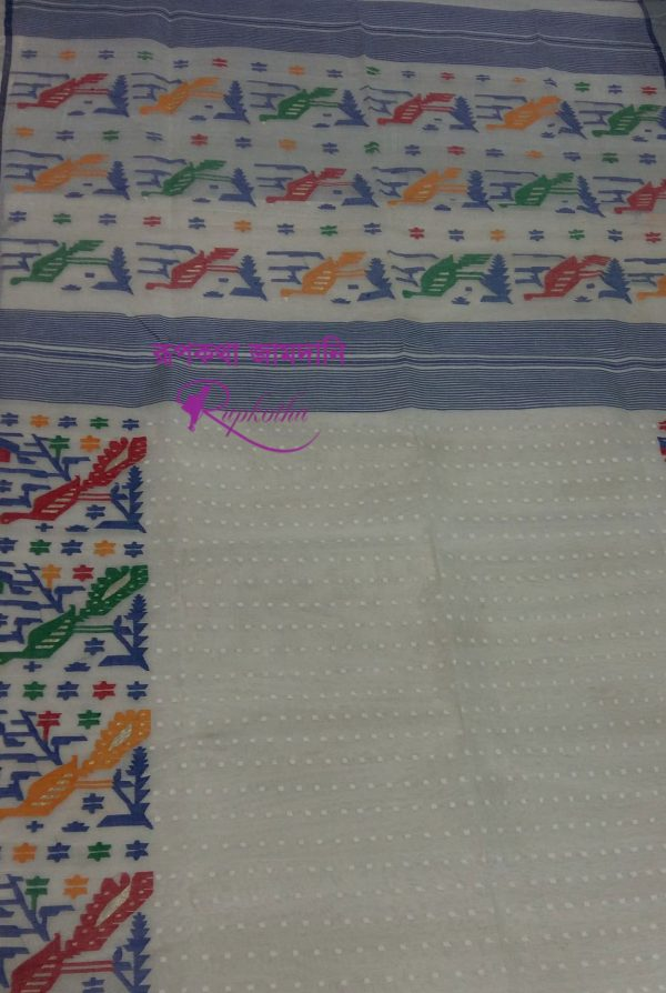 White Cotton soft jamdani saree