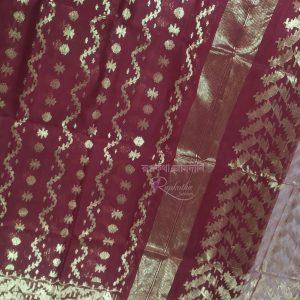 Meroon Half Silk jamdani saree