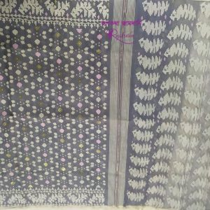 Grey Half silk Jamdani Saree