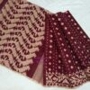 cotton maroon jamdani saree