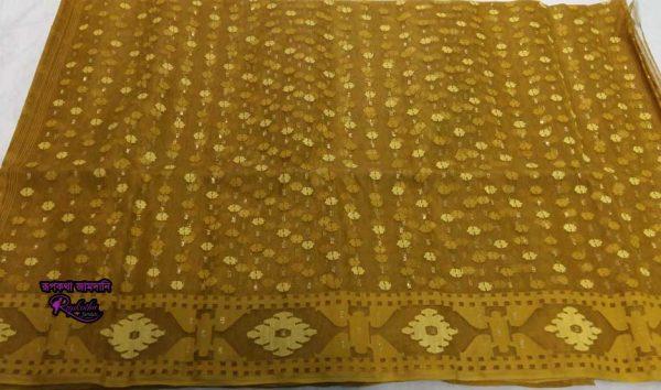 Golden Jamdani saree
