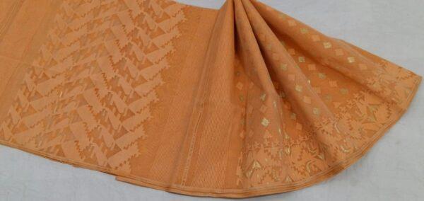 Peach Colored Jamdani Saree