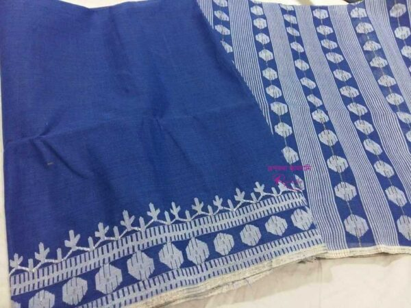Cotton Blue Jamdani Saree