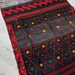 Blak with Red jamdani Dress