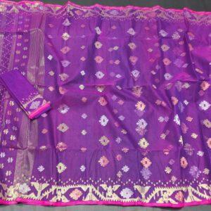 Purple Jamdani saree